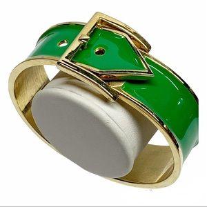 Green enamel belt buckle bangle bracelets old tone  adjustable size